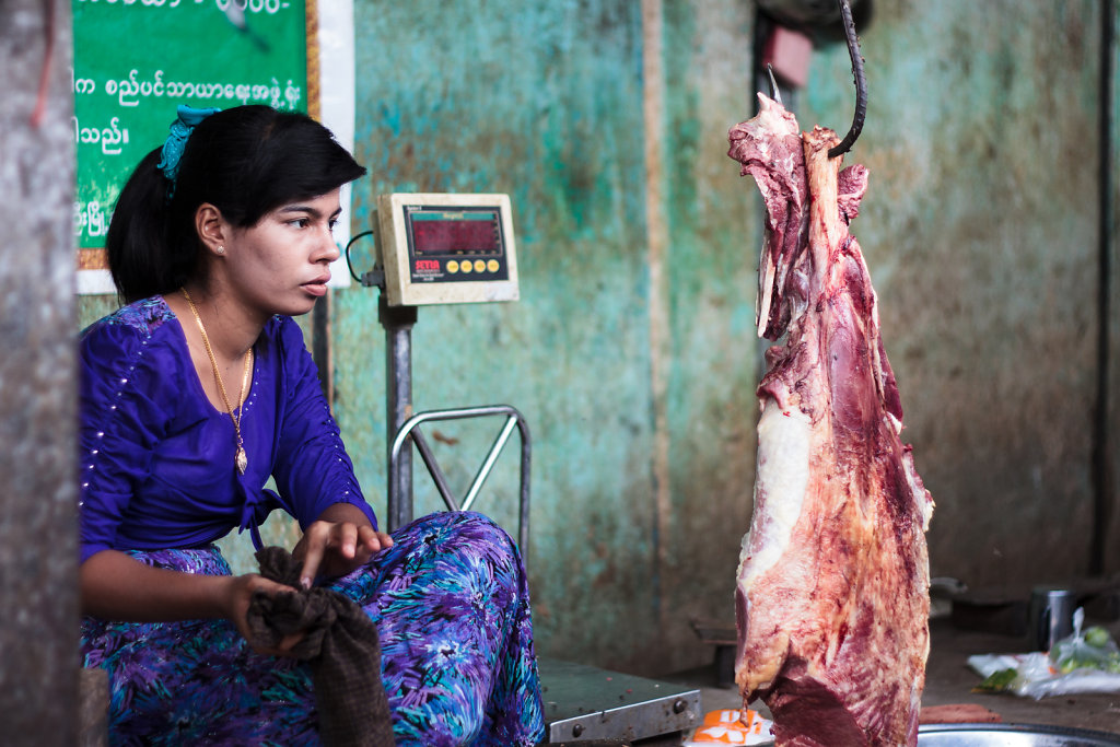 Woman selling meat